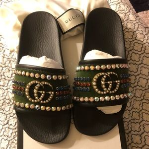 Authentic Gucci Velvet Slide Sandal With Crystals